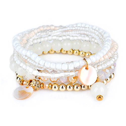 Bohemian White Beaded Bracelet Stretch Wrap Bangle With Charms Shells Round Layered RareLove