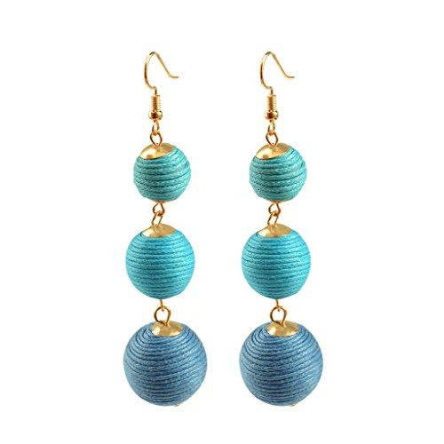 Thread Ball Dangle Earrings, Bon Bon Thread Ball Drop Earrings Lantern Ball Fashion Earrings Trio Earrings - Women