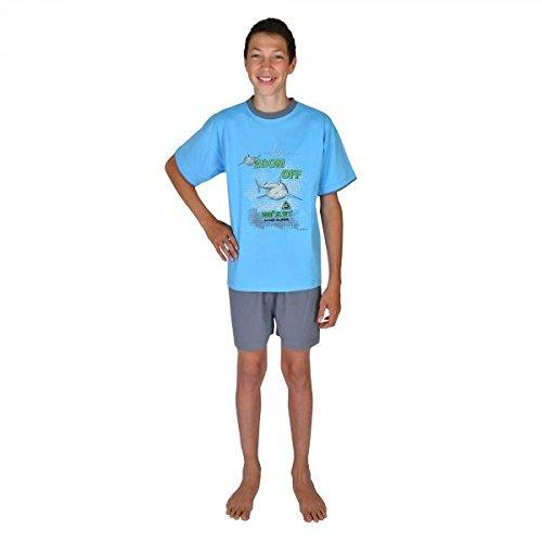 Pijamas cortos para chicos 2 piezas Tiburon Zoom Off color azul oceano tallas 116-176