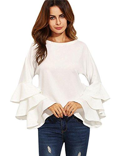 ROPALIA Women's Ruffle Flounce Blouse Long Sleeve Casual Trumpet Sleeve Tops Boat Neck Shirts (White, Large) ()