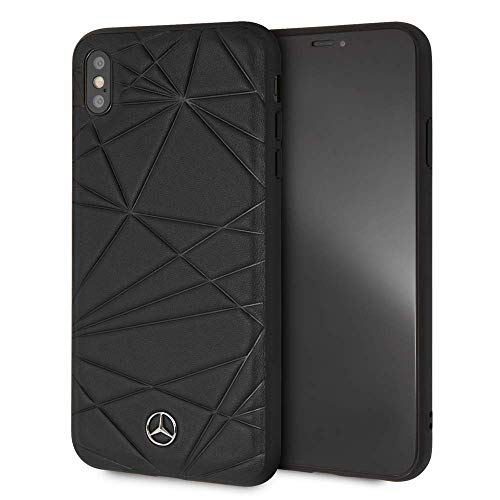 Mercedes Benz Compatible with iPhone XR Twister - Genuine Leather Hard CASE - Black