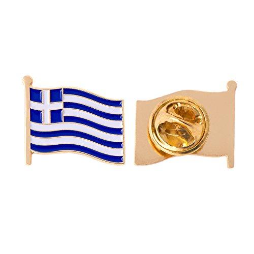 Greece Country Flag Lapel Pin Enamel Made of Metal Souvenir Hat Men Women Patriotic (Waving Flag Lapel Pin)