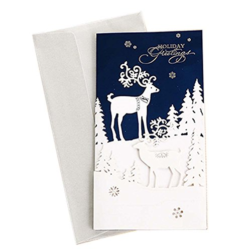 Set of 3 Exquisite Creative Hollow out Christmas Cards Greeting Card with Envelope, J (Xmas Charity Ecards)