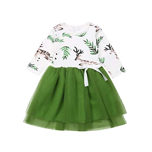 The Little Girl Princess Dress Running Deer Printed Green Net Yarn Stitching Long-Sleeved Dress Birthday Party Exquisite Skirts Suit (Green, 6-7T)