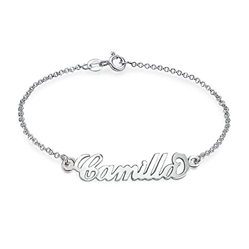 Ouslier 925 Sterling Silver Personalized Name Bracelet Custom Made with Any Names - Sterling Name Bracelet Silver