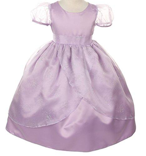 Big Girls' Flower Girls Dress Organza Overlay Flower Girl Dress Lavender Size 8