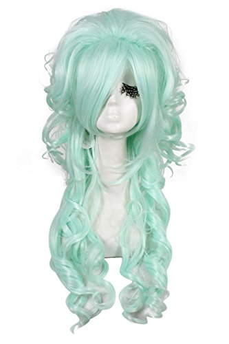 Nuoqi Womens Fashion Mintcream Long Curly Wavy Hair Cosplay Wig (Sexy Wig)