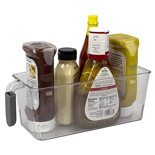Home Basics Small Pull-Out Plastic Bin with Soft Grip Handle for Refrigerator, Freezer & Kitchen Pantry Storage Organizer, Clear