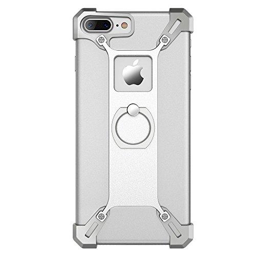NILLKIN Barde Creative Metal Plated Frame Tasche Hüllen Schutzhülle - Case with Grip Ring Holder für iPhone 7 Plus 5.5 - Silver