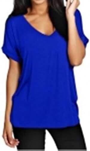 ZANZEA Women's Plus Size Plain Short Sleeve V Neck T Shirt Blouse Loose Tops