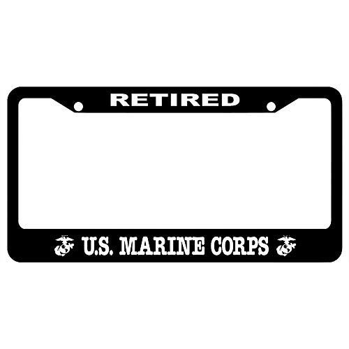 (URCustomPro Retired Us Marine Corps Black License Plate Frame Marine Pride, Personalized Auto Tag Holder, Vanity Car Tag Cover )
