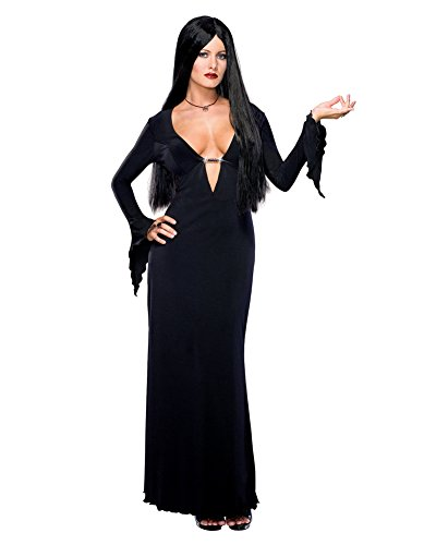 Sexy Morticia Costume Long Black Goth Gown Low Cut The Addams Family Halloween Sizes: Medium ()