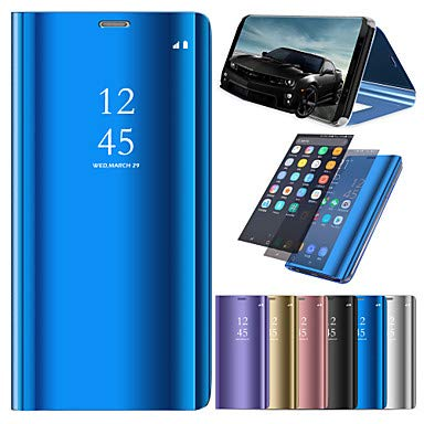 newest 2f1b1 5a097 Case for Samsung Galaxy J6 / J4 with Stand/Plating / Mirror Full Body Cases  Solid Colored Hard PU Leather for J7 (2017) / J7 (2016) / J6 (Color : Dark  ...