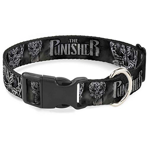 Dog Collar Plastic Clip The Punisher 2017 Smokey Weapons Skull Collage Black Grays 8 to 12