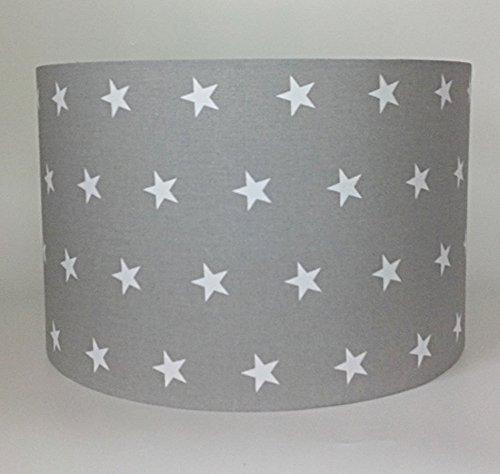 Abat-jour ou lampe en tissu gris avec des étoiles blanches, (D x h) 30cmx 20cm Raw Design UK Ltd