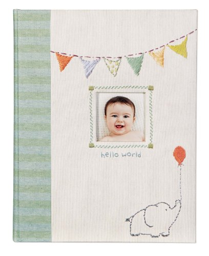C.R. Gibson Elephant 'Hello World' First Five Years Memory Baby Book, 64pgs, 10'' W x 11.75'' H