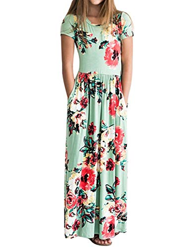 LYXIOF Girls Floral Maxi Dress Flower Printed Casual Short Sleeve Pockets Dress Green -