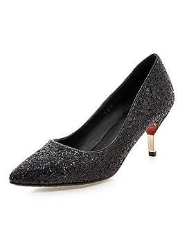 ShangYi Chaussures Femme - Mariage / Bureau & Travail / Soirée & Evénement - Noir / Blanc / Argent / Or - Talon Aiguille - Talons - Talons - , white-us5 / eu35 / uk3 / cn34 , white-us5 / eu35 / uk3 /