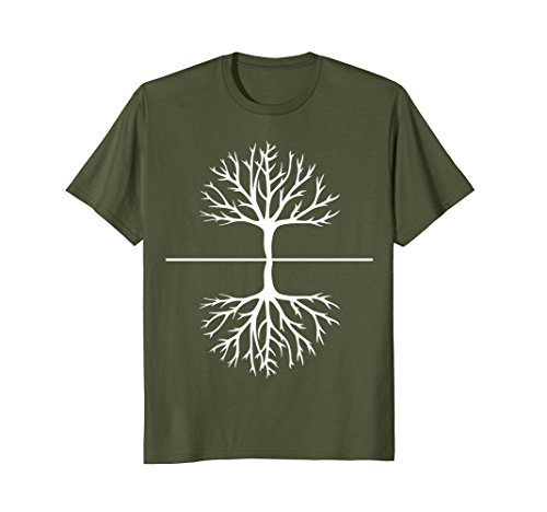 Mens Tree and Roots T Shirt - Camping Outdoors Nature Reflection XL Olive Reflections Solid Green