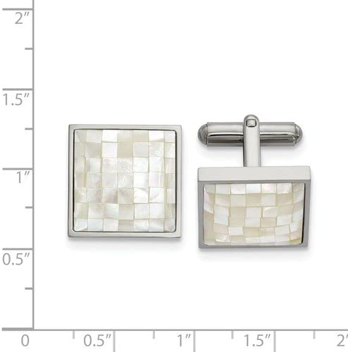 20.6MMX17.09MM Stainless Steel Mother of Pearl Cuff Links