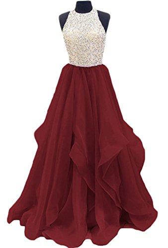 Tbgirl Robes De Bal Magnifiques Perles Mousseline De Trou De Serrure Douce Bourgogne Robe 16 Partie