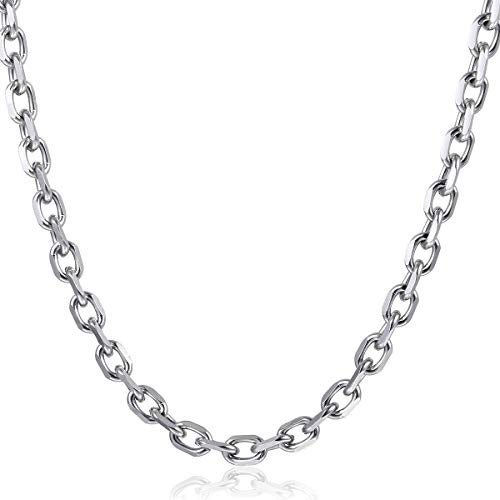Trendsmax 2.5mm 3mm 4mm 10mm Wide Silver Tone Stainless Steel Rolo Necklace Mens Boys Link Chain ()