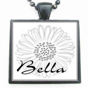 Bella Grandmother Flower Glass Tile Black Pendant Necklace W/chain (Bella Glass Tiles)