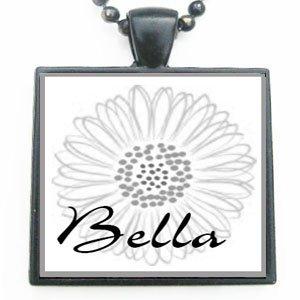 Bella Grandmother Flower Glass Tile Black Pendant Necklace W/chain (Bella Glass Tiles)