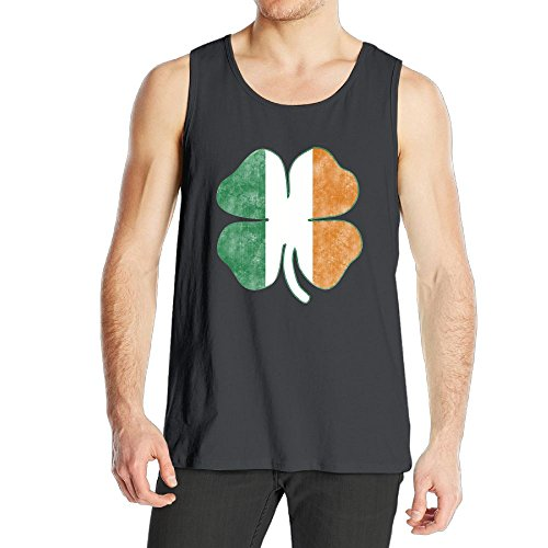 Tina TN Men's Boy's Tank Top Summer Beach Sleeveless T Shirt Irish Flag Four Clover Vest