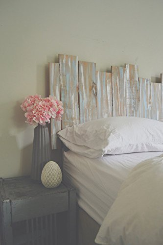 Staggered Wooden Shabby Chic Headboard Wall Art - Gray / Blue / White - Gender Neutral