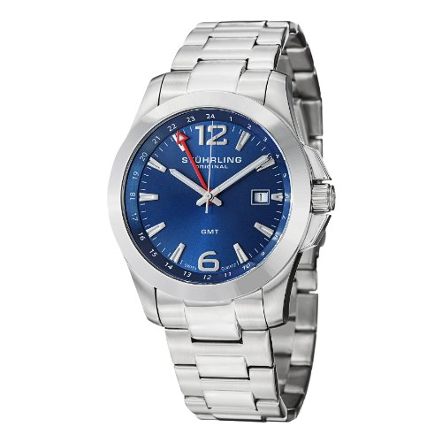 New Esprit Stainless Steel Case - Stuhrling Original Men's 532.03 Leisure Esprit GMT Analog Display Swiss Quartz Silver Watch
