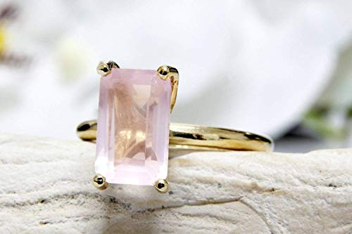 (Anemone Unique Rose Quartz Gold Ring - Pink 4-Prong Wow Rose Quartz Ring With Free Gift Box For Elegant Women - Created For Special Occasions & Anniversaries [Handmade)