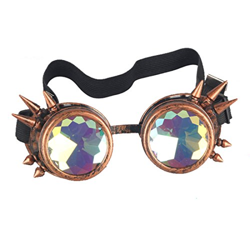 - FIRSTLIKE 3-5 Days Delivery,Kaleidoscope Rave Goggles Steampunk Glasses with Rainbow Crystal Glass Lens