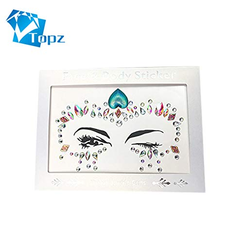face jewels rhinestone gems Body Jewels Gems Temporary Tattoo sticker Face Crystals Decorations (aquamarine) -