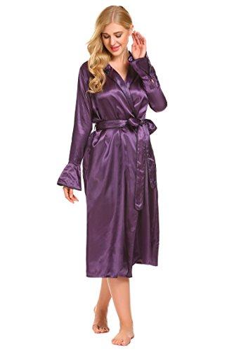 - Ekouaer Womens Long Silk Satin Kimono Bathrobe Shawl Collar Long Sleeve Robe, Purple, Small