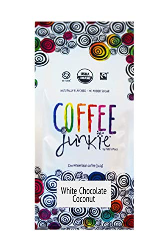 Coffee Junkie White Chocolate Coconut Naturally Flavored Coffee Beans - 12 oz (Caffeinated, 12 oz)
