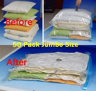 "50 PACK Space Saver Vacuum Storage Bags Jumbo Size 51""X40"""