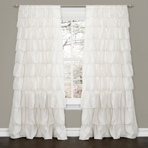 Ivory Ruffle (Lush Decor Ruffle Window Curtain,)