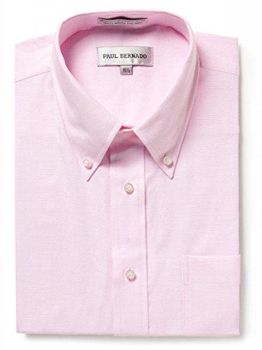 Paul Bernado Men's Short Sleeve Oxford Shirt-Wrinkle-Free Button Down Collar, Pink, 16.5