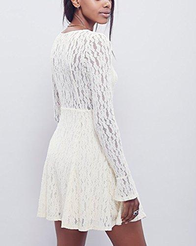 Dianshao Girocollo Manica Vestito Bianco Pizzo Donna Vestiti Da Lunga Cocktail Corto Elegante nwOk0P