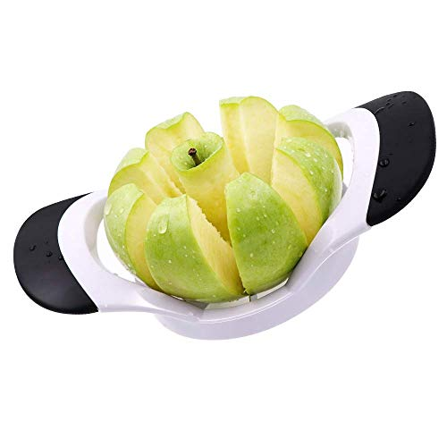 Beaverve Slicer and Corer, 8-Slices Cutter, Stainless Steel Ultra-Sharp Wedger, Divider, Pitter, Perfect for Apple, Pear, Orange, 7.1 x 4.2 x 1.5 inches, Black/White