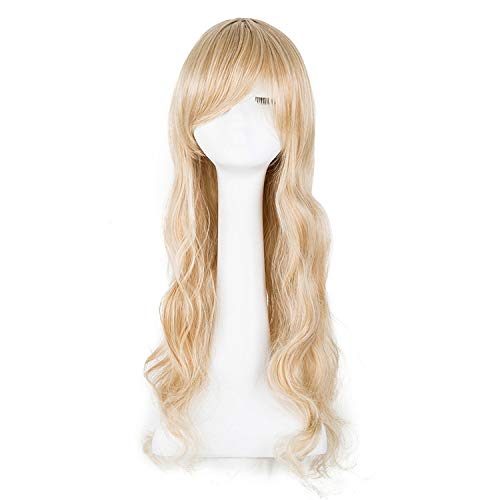Cosplay Wig Synthetic Heat Resistant Long Curly Inclined Bangs Blonde Carnival Halloween Hair Women Costume Hairpiece,Bah / 613,26inches ()