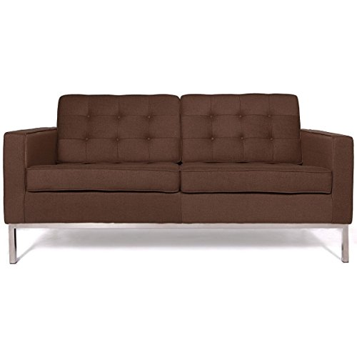 Modern Sectional Daybed (LeisureMod Florence Style Mid Century Modern Tufted Loveseat Sofa (Chocolate Brown Wool))