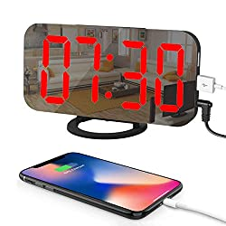 Ousome Digital Alarm Clock with Large 6.5 Red LED Digits Display, Mirror Surface, Easy Snooze Function, Diming Mode, Dual USB Charging Ports for Bedroom, Living Room, Office, Kitchen