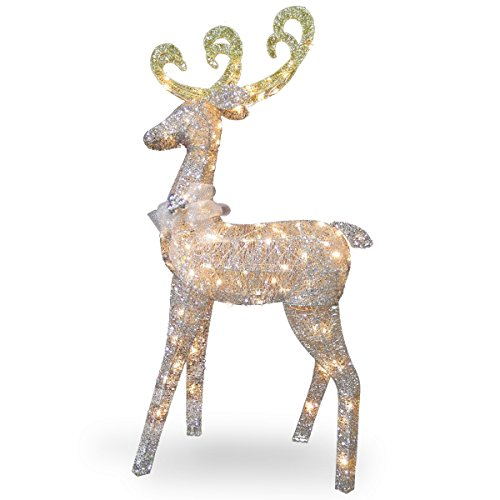 National Tree 60  Inch Crystal Standing Deer with 100 Clear Mini Lights (DF-100064U) (Lighted Decorations Reindeer)