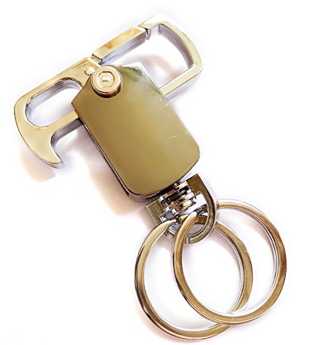 Party Valet - Valet key chain, car key chains, keyfob,Heavy Duty Carabiner Bottle Opener, Car Key Chain - 2 extra Metal Key Rings Keychains for Men and Women or Business Key Clip Ring (SILVER&GUN BLACK)
