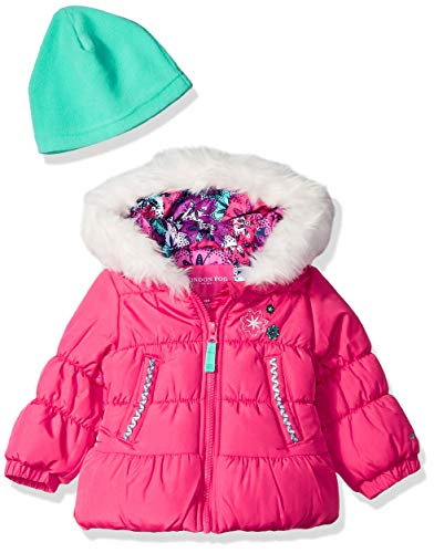 - London Fog Baby Girls Puffer Jacket with Scarf & Hat, Pink Sapphire, 24M