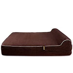 KOPEKS Dog Bed Replacement Cover Memory Foam Beds - Brown - Extra Large (Jumbo Size) 35