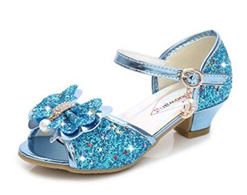 YOGLY Sandalias Para Niñas Zapatos de Tacón Disfraz de Princesa Niñas Fantasía de Tacones Altos Lazo Lentejuelas Para Fiesta Cosplay Carnaval Azul
