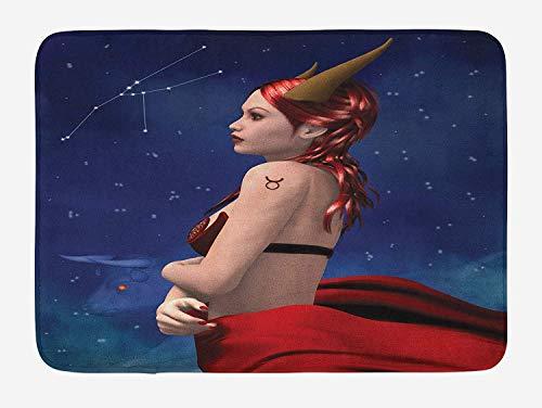 Huayuanhurug Funny Doormat, Astrology Taurus Girl with Horns Maleficent Zodiac Stars Floor Mat Rug Indoor/Outdoor/Front Door/Bathroom mat Rubber Non Slip 16x24 Inch -